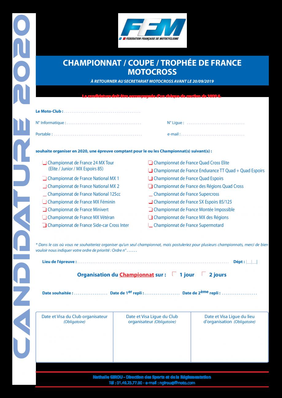 Calendrier Cross Country 2020.Motocross 2020 Ffmoto